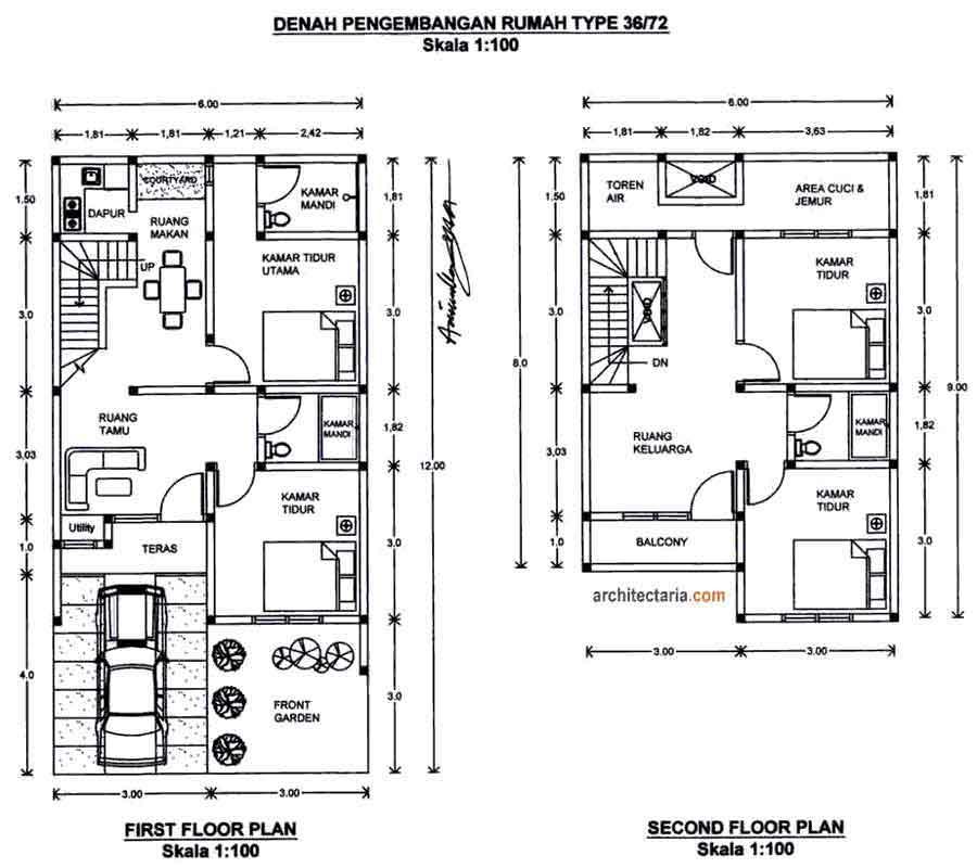 informasi desain rumah 2 lantai tanah 90